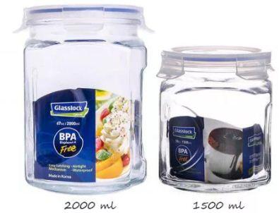 Bộ 2 Hũ Gia Vị Thủy Tinh Glasslock IG671 loại 1500 + 2000 ml