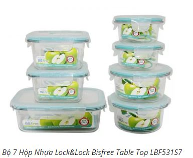 Bộ 7 Hộp Nhựa Thực Phẩm Lock&Lock Bisfree Table Top LBF531S7